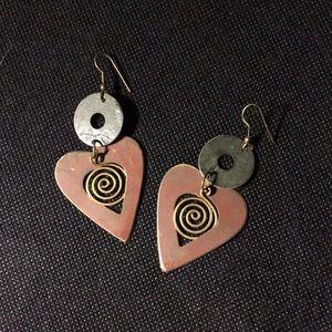 Bohemian Abstract Heart Earrings